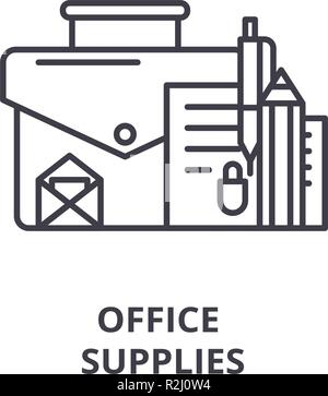 Office supplies line icon concept. Office supplies vector linear illustration, symbol, sign - Stock Photo