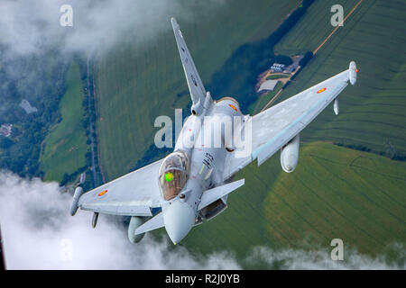 Spanish Air force Eurofighter Typhoon in flight. A twin-engine, canard-delta wing, multirole fighter. Photographed at Royal International Air Tattoo ( - Stock Photo