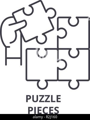 Puzzle pieces line icon concept. Puzzle pieces vector linear illustration, symbol, sign - Stock Photo