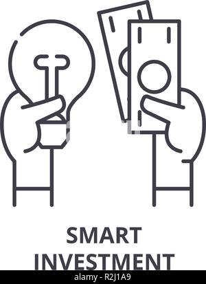 Smart investment line icon concept. Smart investment vector linear illustration, symbol, sign - Stock Photo