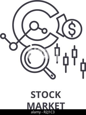 Stock market line icon concept. Stock market vector linear illustration, symbol, sign - Stock Photo