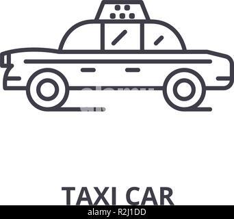 Taxi car line icon concept. Taxi car vector linear illustration, symbol, sign - Stock Photo