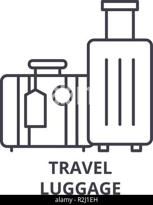 Travel luggage line icon concept. Travel luggage vector linear illustration, symbol, sign - Stock Photo