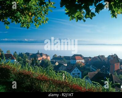 alpensicht over meersburg and bodensee - Stock Photo