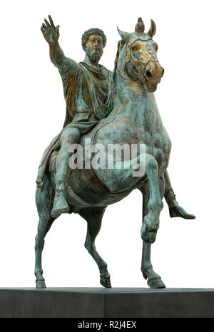 2nd  centuary AD  Roman, bronze, equestrian Statue of Emperor Marcus Aurelius in the  Capitoline Musems, Rome, Italy - Stock Photo
