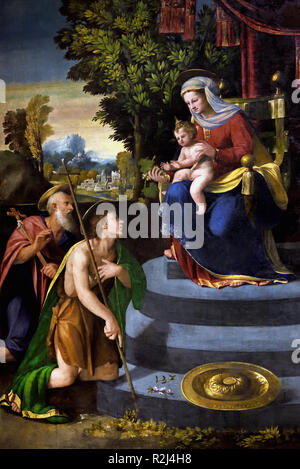 Madonna enthroned with the Child and Saints Jerome and John the Baptist (Battista Dossi - 1533/1534), Italy,Italian.