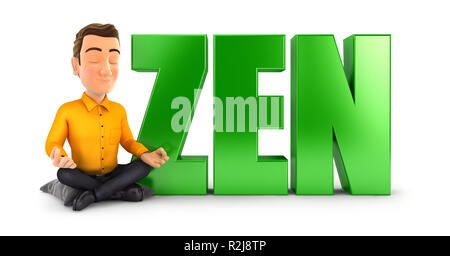 3d man doing meditation next to the word zen, illustration with isolated white background - Stock Photo