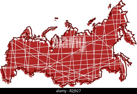 colored Russia map - Stock Photo