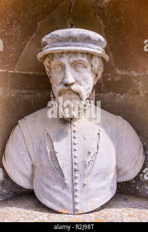 A bust of Sir Thomas Gresham in The Temple of British Worthies in Stowe House Gardens, Buckinghamshire UK - Stock Photo