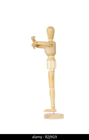 Wooden stickman hugging - Stock Photo