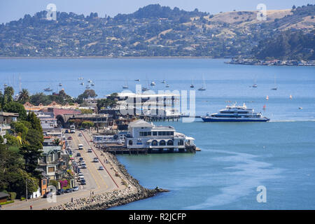 June 29, 2018 Sausalito / CA / USA - Aerial view of Sausalito's shoreline, with  restaurants facing the water; north San Francisco bay area - Stock Photo