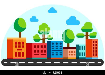 Flat style houses with road. Cartoon city buildings in bright color. Summer sunny day street view. Flat illustration - Stock Photo