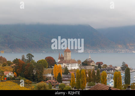 Spiez castle on the shore of Lake Thun in the Bernese Oberland region of the Swiss canton of Bern, Switzerland - Stock Photo
