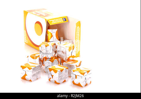 SWINDON, UK - NOVEMBER 18, 2018: A box of Chicken OXO stock cubes on a white background - Stock Photo