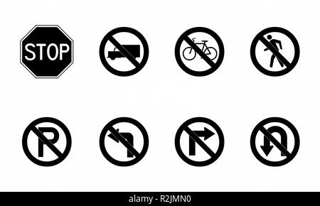 A set of black and white traffic signs illustrations - Stock Photo