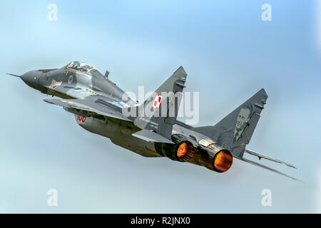 Mikoyan MiG-29A 'Fulcrum' of the Polish Air Force Photographed at Royal International Air Tattoo (RIAT) - Stock Photo