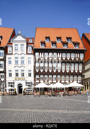 Historic half-timbered houses on market square, old town, Hildesheim, Lower Saxony, Germany, Europe - Stock Photo