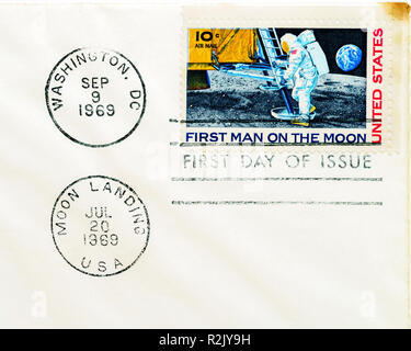 1969 first moon landing commemorative stamp on first day of tissue envelope - Stock Photo