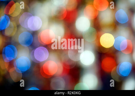 Germany, Bavaria, Munich, Marienplatz, Christmas market, Christmas tree decoration, points of light, defocused - Stock Photo