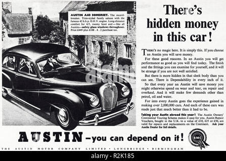 Original 1950s vintage old print advertisement from English magazine advertising Austin A40 Somerset circa 1954 - Stock Photo