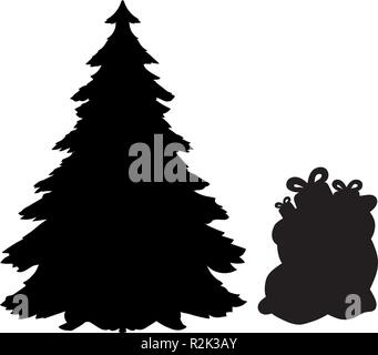 Silhouette Christmas trees and gifts - Stock Photo