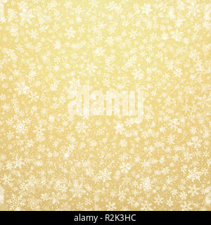 White snowflakes shapes and falling snow on a gold background. Christmas seasonal material. - Stock Photo