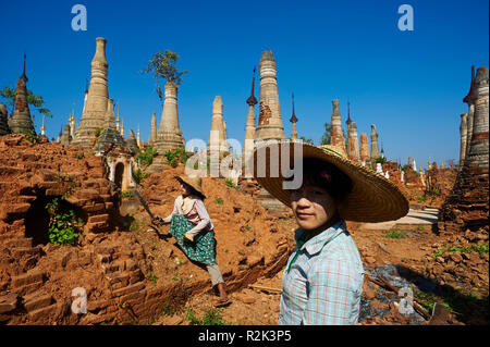 Shwe Inn Thein temple, Myanmar, Asia, - Stock Photo