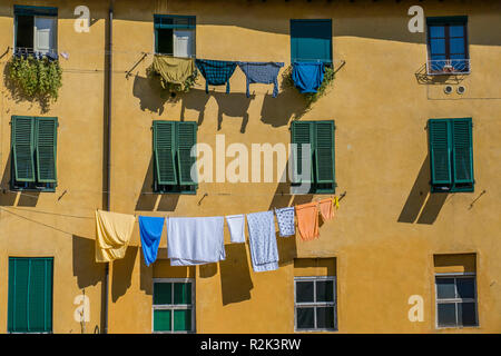 Piazza Anfiteatro, Lucca, Tuscany, Italy, Europe - Stock Photo