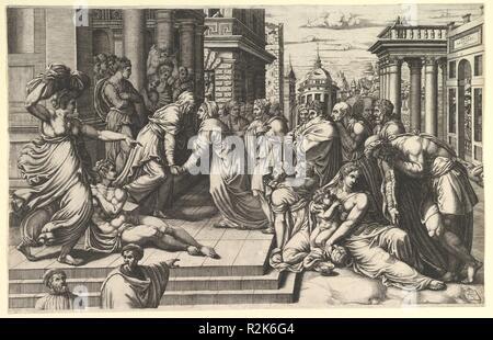 The Visitation. Artist: Giorgio Ghisi (Italian, Mantua ca. 1520-1582 Mantua); After Francesco Salviati (Francesco de' Rossi) (Italian, Florence 1510-1563 Rome). Dimensions: Sheet (Trimmed): 12 11/16 × 19 1/2 in. (32.3 × 49.5 cm). Date: 1540-50. Museum: Metropolitan Museum of Art, New York, USA. - Stock Photo