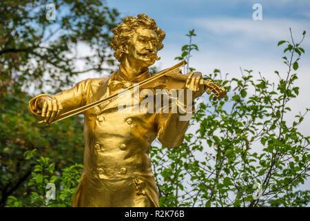 Monument, Johann Strauss II, Stadtpark, Vienna, Austria - Stock Photo