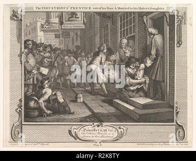 The Industrious 'Prentice Out of his Time and Married to his Master's Daughter (Industry and Idleness, plate 6). Artist: William Hogarth (British, London 1697-1764 London). Dimensions: plate: 10 3/8 x 13 9/16 in. (26.4 x 34.4 cm)  sheet: 10 9/16 x 13 7/8 in. (26.8 x 35.2 cm). Date: September 30, 1747. Museum: Metropolitan Museum of Art, New York, USA. - Stock Photo