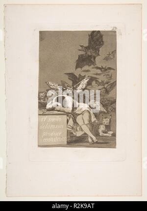 Plate 43 from 'Los Caprichos': The sleep of reason produces monsters (El sueño de la razon produce monstruos). Artist: Goya (Francisco de Goya y Lucientes) (Spanish, Fuendetodos 1746-1828 Bordeaux). Dimensions: Plate: 8 3/8 x 5 15/16 in. (21.2 x 15.1 cm)  Sheet: 11 5/8 x 8 1/4 in. (29.5 x 21 cm). Series/Portfolio: Los Caprichos. Date: 1799.  This is the best known image from Goya's series of 80 aquatint etchings published in 1799 known as 'Los Caprichos' that are generally understood as the artist's criticism of the society in which he lived. Goya worked on the series from around 1796-98 and m - Stock Photo