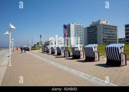 Beach chairs at the coast, Norderney, East Frisian island, Lower saxony, Germany, Europe - Stock Photo
