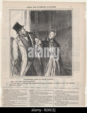A misapprehension at the Odeon, on a day of drama, from 'Theater sketches,' published in Le Charivari, May 4, 1864. Artist: Honoré Daumier (French, Marseilles 1808-1879 Valmondois). Dimensions: Image: 8 7/8 × 8 5/16 in. (22.5 × 21.1 cm)  Sheet: 14 1/8 × 11 5/16 in. (35.8 × 28.8 cm). Printer: Destouches (Paris). Publisher: Aaron Martinet (French, 1762-1841). Series/Portfolio: 'Theater sketches' (Croquis pris au théatre). Date: May 4, 1864.  - Come on, come on let's go!   - I am telling you it's not finished. The curtain has gone up again and there is still Roman on the stage. Museum: Metropolit - Stock Photo