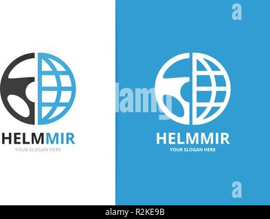 Vector car helm and planet logo combination. Steering wheel and world symbol or icon. Unique rudder and globe logotype design template. - Stock Photo