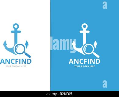 Vector anchor and loupe logo combination. Marine and magnifying symbol or icon. Unique navy and search logotype design template. - Stock Photo