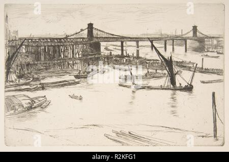 Old Hungerford Bridge. Artist: James McNeill Whistler (American, Lowell, Massachusetts 1834-1903 London). Dimensions: plate: 5 3/8 x 8 1/4 in. (13.7 x 21 cm)  sheet: 8 1/4 x 12 5/8 in. (21 x 32.1 cm). Series/Portfolio: Thames Set ('A Series of Sixteen Etchings of Scenes on the Thames and Other Subjects' 1871). Date: 1861. Museum: Metropolitan Museum of Art, New York, USA. - Stock Photo
