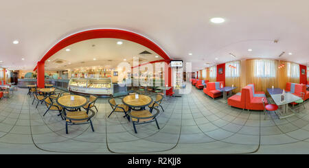 GOMEL, BELARUS - MAY 26, 2012: Full 360 panorama in equirectangular spherical equidistant projection in interier children's cafe with sweets and ice c - Stock Photo