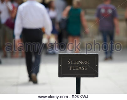 Silence Please sign at The Sheldonian Theatre and Clarendon Building in Oxford - Stock Photo