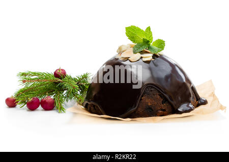 Homemade  Christmas pudding isolated on white - Stock Photo