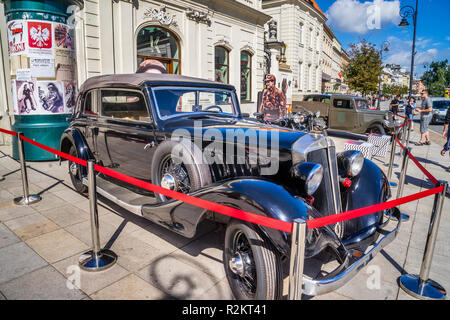 streets of Warsaw '44 historical exhibition of period paraphernalia duing the Warsaw Uprising, Horch cabriolet at the Potocki Palace, Warsaw, Poland - Stock Photo
