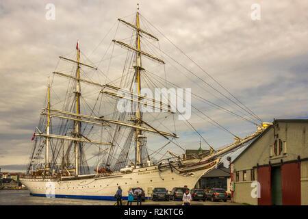 Sailing Ship Statsraad Lehmkuhl,Bergen, Norway - Stock Photo