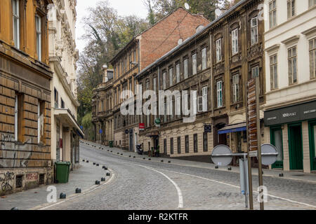 Zagreb, Croatia, November 2018 - A View of Mesnicka Street in the early morning - Stock Photo