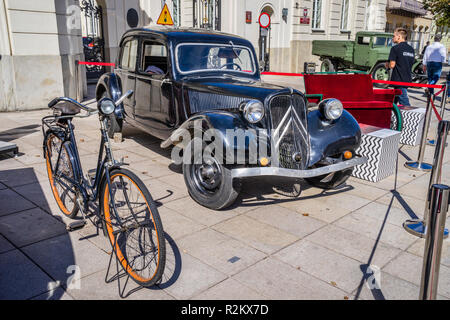 streets of Warsaw '44 historical exhibition of period paraphernalia duing the Warsaw Uprising, vintage Citroen BL 11 at the Potocki Palace, Warsaw, Po - Stock Photo