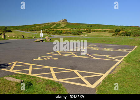 Disabled parking spaces at Haytor Visitor Centre on Dartmoor, looking towards Haytor Rocks. - Stock Photo