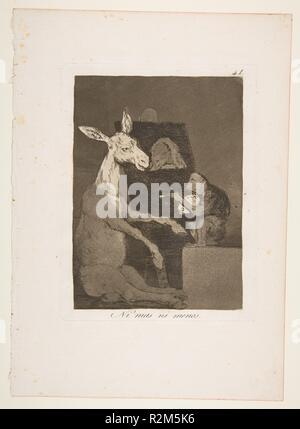 Plate 41 from 'Los Caprichos':  Neither more nor less (Ni mas ni menos.). Artist: Goya (Francisco de Goya y Lucientes) (Spanish, Fuendetodos 1746-1828 Bordeaux). Dimensions: Plate: 7 3/4 x 5 13/16 in. (19.7 x 14.8 cm)  Sheet: 11 5/8 x 8 1/4 in. (29.5 x 20.9 cm). Series/Portfolio: Los Caprichos. Date: 1799. Museum: Metropolitan Museum of Art, New York, USA. - Stock Photo