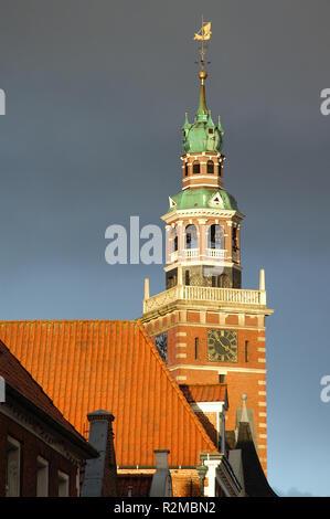 town hall of empty ostfriesland - Stock Photo
