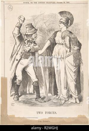 Two Forces (Punch, October 29, 1881). Artist: Sir John Tenniel (British, London 1820-1914 London). Dimensions: Sheet: 10 1/4 x 7 3/8 in. (26 x 18.7 cm). Date: 1881. Museum: Metropolitan Museum of Art, New York, USA. - Stock Photo