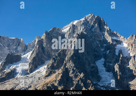 View from Val Ferret to Grandes Jorasses (4208m), Mont Blanc massif, near Courmayeur, Aosta province, Aosta Valley, Italy - Stock Photo