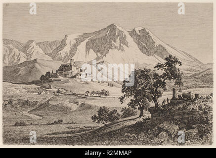 Veduta di Albe e Monte Velino negli Abruzzi. Dated: 1839. Dimensions: plate: 16.6 × 24.5 cm (6 9/16 × 9 5/8 in.)  sheet: 30.3 × 45.6 cm (11 15/16 × 17 15/16 in.). Medium: etching on chine collé. Museum: National Gallery of Art, Washington DC. Author: GEORG HEINRICH BUSSE. - Stock Photo